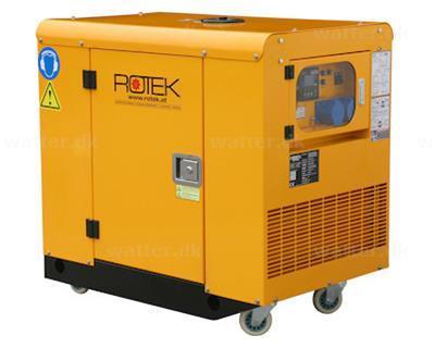 Lydisoleret Rotek Benzin Generator med luftkølet 2-cylinder og 230 Volt 50 Hz/1-Faset, 9,2 kVA