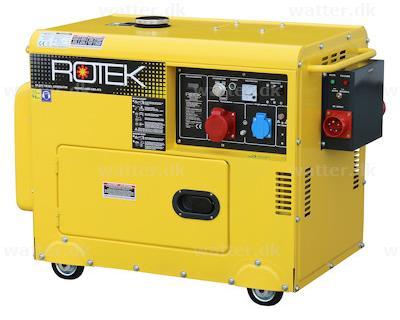 Rotek diesel generatorer 400V 50Hz (3-faset), 6 kVA, lydisoleret med elektrisk start