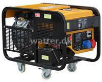 Rotek Benzin luftkølet 2-cylinder Generator 400 Volt 50 Hz/3-Faset 12 kVA